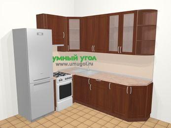 Угловая кухня МДФ матовый в классическом стиле 6,6 м², 190 на 240 см, Вишня темная, верхние модули 92 см, холодильник, отдельно стоящая плита