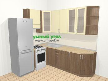 Угловая кухня МДФ матовый в современном стиле 6,6 м², 190 на 240 см, Ваниль / Лиственница бронзовая, верхние модули 92 см, холодильник, отдельно стоящая плита