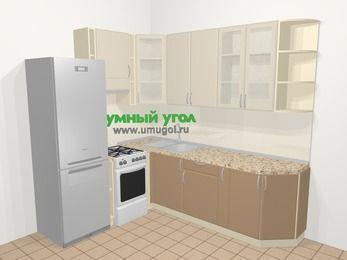 Угловая кухня МДФ матовый в современном стиле 6,6 м², 190 на 240 см, Керамик / Кофе, верхние модули 92 см, холодильник, отдельно стоящая плита