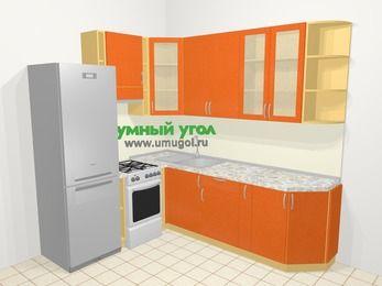 Угловая кухня МДФ металлик в современном стиле 6,6 м², 190 на 240 см, Оранжевый металлик, верхние модули 92 см, холодильник, отдельно стоящая плита