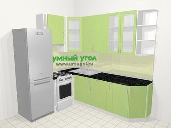 Угловая кухня МДФ металлик в современном стиле 6,6 м², 190 на 240 см, Салатовый металлик, верхние модули 92 см, холодильник, отдельно стоящая плита