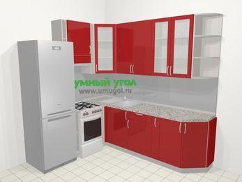 Угловая кухня МДФ глянец в современном стиле 6,6 м², 190 на 240 см, Красный, верхние модули 92 см, холодильник, отдельно стоящая плита