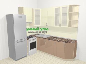 Угловая кухня МДФ глянец в современном стиле 6,6 м², 190 на 240 см, Жасмин / Капучино, верхние модули 92 см, холодильник, отдельно стоящая плита