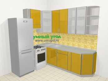 Кухни пластиковые угловые в современном стиле 6,6 м², 190 на 240 см, Желтый глянец, верхние модули 92 см, холодильник, отдельно стоящая плита