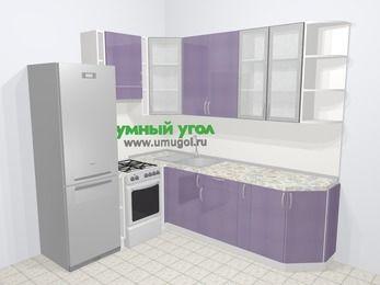 Кухни пластиковые угловые в современном стиле 6,6 м², 190 на 240 см, Сиреневый глянец, верхние модули 92 см, холодильник, отдельно стоящая плита