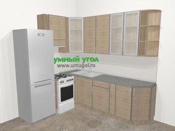 Кухни пластиковые угловые в стиле лофт 6,6 м², 190 на 240 см, Чибли бежевый, верхние модули 92 см, холодильник, отдельно стоящая плита