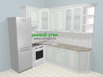 Угловая кухня МДФ патина в стиле прованс 6,6 м², 190 на 240 см, Лиственница белая, верхние модули 92 см, холодильник, отдельно стоящая плита