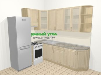 Угловая кухня из массива дерева в классическом стиле 6,6 м², 190 на 240 см, Светло-коричневые оттенки, верхние модули 92 см, холодильник, отдельно стоящая плита