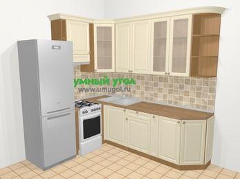 Угловая кухня из массива дерева в стиле кантри 6,6 м², 190 на 240 см, Бежевые оттенки, верхние модули 92 см, холодильник, отдельно стоящая плита