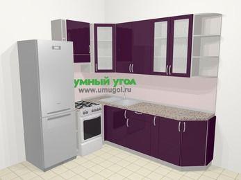 Угловая кухня МДФ глянец в современном стиле 6,6 м², 190 на 240 см, Баклажан, верхние модули 92 см, холодильник, отдельно стоящая плита