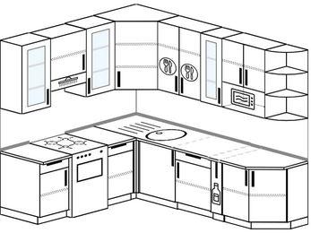 Угловая кухня 6,6 м² (1,9✕2,4 м), верхние модули 92 см, модуль под свч, отдельно стоящая плита