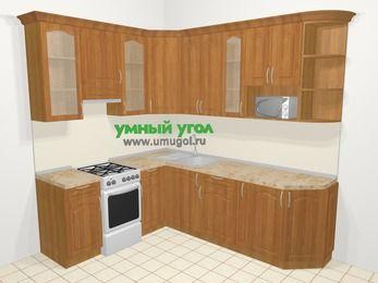 Угловая кухня МДФ матовый в классическом стиле 6,6 м², 190 на 240 см, Вишня, верхние модули 92 см, модуль под свч, отдельно стоящая плита