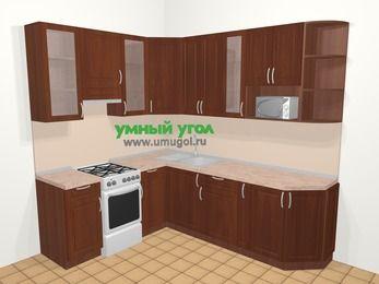 Угловая кухня МДФ матовый в классическом стиле 6,6 м², 190 на 240 см, Вишня темная, верхние модули 92 см, модуль под свч, отдельно стоящая плита