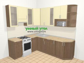 Угловая кухня МДФ матовый в современном стиле 6,6 м², 190 на 240 см, Ваниль / Лиственница бронзовая, верхние модули 92 см, модуль под свч, отдельно стоящая плита