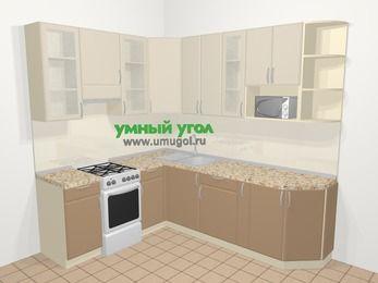 Угловая кухня МДФ матовый в современном стиле 6,6 м², 190 на 240 см, Керамик / Кофе, верхние модули 92 см, модуль под свч, отдельно стоящая плита
