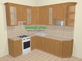 Угловая кухня МДФ матовый в стиле кантри 6,6 м², 190 на 240 см, Ольха, верхние модули 92 см, модуль под свч, отдельно стоящая плита