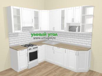 Угловая кухня МДФ матовый  в скандинавском стиле 6,6 м², 190 на 240 см, Белый, верхние модули 92 см, модуль под свч, отдельно стоящая плита