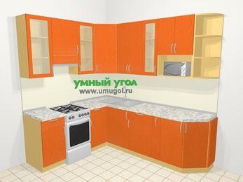 Угловая кухня МДФ металлик в современном стиле 6,6 м², 190 на 240 см, Оранжевый металлик, верхние модули 92 см, модуль под свч, отдельно стоящая плита