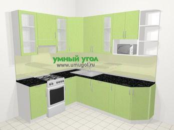 Угловая кухня МДФ металлик в современном стиле 6,6 м², 190 на 240 см, Салатовый металлик, верхние модули 92 см, модуль под свч, отдельно стоящая плита
