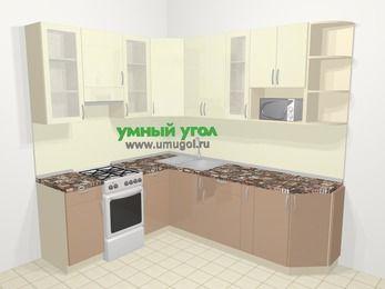 Угловая кухня МДФ глянец в современном стиле 6,6 м², 190 на 240 см, Жасмин / Капучино, верхние модули 92 см, модуль под свч, отдельно стоящая плита