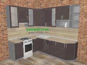 Угловая кухня МДФ глянец в стиле лофт 6,6 м², 190 на 240 см, Шоколад, верхние модули 92 см, модуль под свч, отдельно стоящая плита