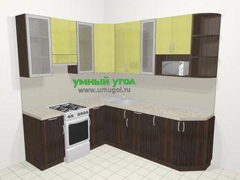 Кухни пластиковые угловые в современном стиле 6,6 м², 190 на 240 см, Желтый Галлион глянец / Дерево Мокка, верхние модули 92 см, модуль под свч, отдельно стоящая плита