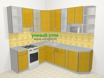 Кухни пластиковые угловые в современном стиле 6,6 м², 190 на 240 см, Желтый глянец, верхние модули 92 см, модуль под свч, отдельно стоящая плита