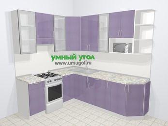 Кухни пластиковые угловые в современном стиле 6,6 м², 190 на 240 см, Сиреневый глянец, верхние модули 92 см, модуль под свч, отдельно стоящая плита