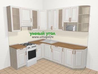 Угловая кухня МДФ патина в классическом стиле 6,6 м², 190 на 240 см, Лиственница белая, верхние модули 92 см, модуль под свч, отдельно стоящая плита