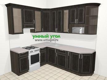 Угловая кухня МДФ патина в классическом стиле 6,6 м², 190 на 240 см, Венге, верхние модули 92 см, модуль под свч, отдельно стоящая плита