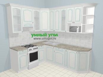 Угловая кухня МДФ патина в стиле прованс 6,6 м², 190 на 240 см, Лиственница белая, верхние модули 92 см, модуль под свч, отдельно стоящая плита