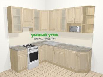 Угловая кухня из массива дерева в классическом стиле 6,6 м², 190 на 240 см, Светло-коричневые оттенки, верхние модули 92 см, модуль под свч, отдельно стоящая плита