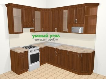 Угловая кухня из массива дерева в классическом стиле 6,6 м², 190 на 240 см, Темно-коричневые оттенки, верхние модули 92 см, модуль под свч, отдельно стоящая плита