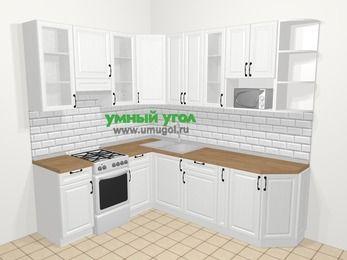 Угловая кухня из массива дерева в скандинавском стиле 6,6 м², 190 на 240 см, Белые оттенки, верхние модули 92 см, модуль под свч, отдельно стоящая плита