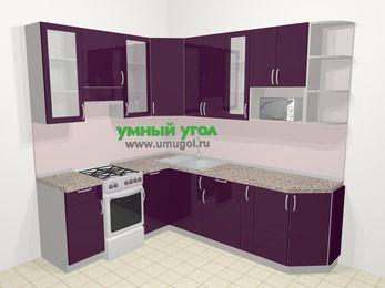 Угловая кухня МДФ глянец в современном стиле 6,6 м², 190 на 240 см, Баклажан, верхние модули 92 см, модуль под свч, отдельно стоящая плита