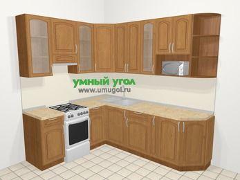Угловая кухня МДФ патина в классическом стиле 6,6 м², 190 на 240 см, Ольха, верхние модули 92 см, модуль под свч, отдельно стоящая плита