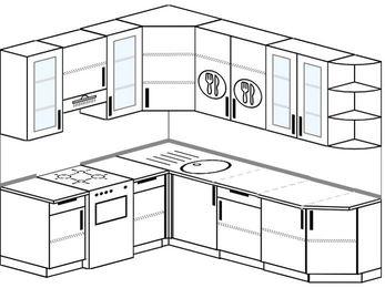 Угловая кухня 6,6 м² (1,9✕2,4 м), верхние модули 92 см, отдельно стоящая плита
