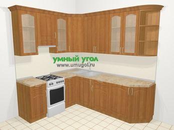 Угловая кухня МДФ матовый в классическом стиле 6,6 м², 190 на 240 см, Вишня, верхние модули 92 см, отдельно стоящая плита