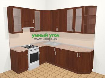 Угловая кухня МДФ матовый в классическом стиле 6,6 м², 190 на 240 см, Вишня темная, верхние модули 92 см, отдельно стоящая плита