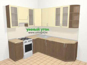 Угловая кухня МДФ матовый в современном стиле 6,6 м², 190 на 240 см, Ваниль / Лиственница бронзовая, верхние модули 92 см, отдельно стоящая плита