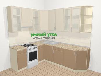 Угловая кухня МДФ матовый в современном стиле 6,6 м², 190 на 240 см, Керамик / Кофе, верхние модули 92 см, отдельно стоящая плита