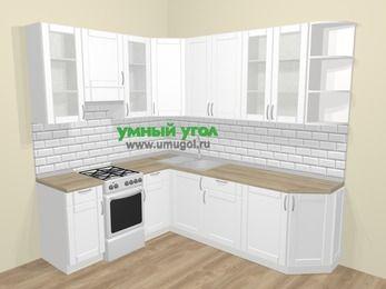Угловая кухня МДФ матовый  в скандинавском стиле 6,6 м², 190 на 240 см, Белый, верхние модули 92 см, отдельно стоящая плита