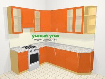 Угловая кухня МДФ металлик в современном стиле 6,6 м², 190 на 240 см, Оранжевый металлик, верхние модули 92 см, отдельно стоящая плита