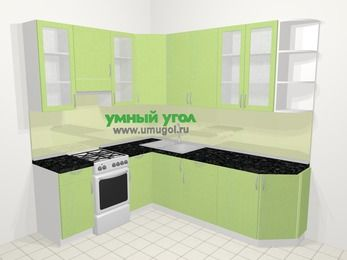 Угловая кухня МДФ металлик в современном стиле 6,6 м², 190 на 240 см, Салатовый металлик, верхние модули 92 см, отдельно стоящая плита
