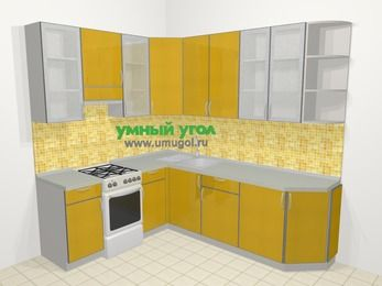 Кухни пластиковые угловые в современном стиле 6,6 м², 190 на 240 см, Желтый глянец, верхние модули 92 см, отдельно стоящая плита