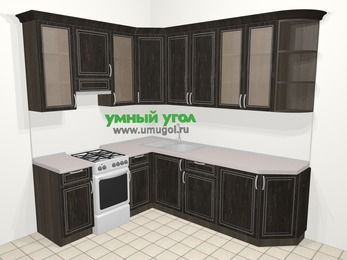 Угловая кухня МДФ патина в классическом стиле 6,6 м², 190 на 240 см, Венге, верхние модули 92 см, отдельно стоящая плита