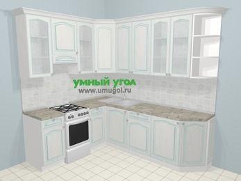 Угловая кухня МДФ патина в стиле прованс 6,6 м², 190 на 240 см, Лиственница белая, верхние модули 92 см, отдельно стоящая плита
