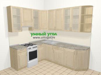 Угловая кухня из массива дерева в классическом стиле 6,6 м², 190 на 240 см, Светло-коричневые оттенки, верхние модули 92 см, отдельно стоящая плита