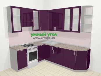 Угловая кухня МДФ глянец в современном стиле 6,6 м², 190 на 240 см, Баклажан, верхние модули 92 см, отдельно стоящая плита