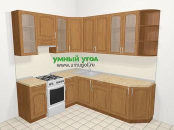 Угловая кухня МДФ патина в классическом стиле 6,6 м², 190 на 240 см, Ольха, верхние модули 92 см, отдельно стоящая плита